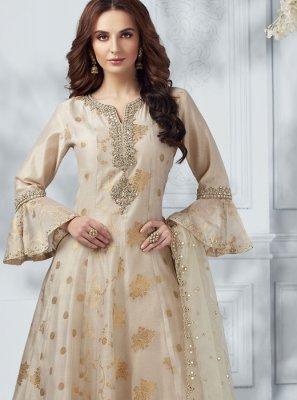 Cream Embroidered Designer Salwar Kameez