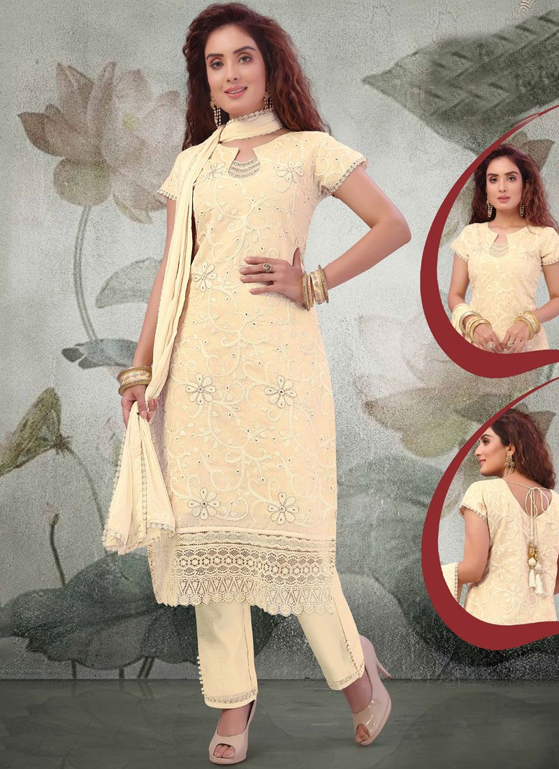 Cream Embroidered Festival Pant Style Suit