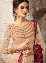 Cream Embroidered Georgette Designer Salwar Kameez