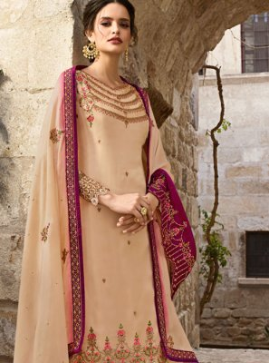 Cream Embroidered Georgette Designer Salwar Kameez