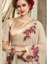 Cream Embroidered Georgette Designer Saree