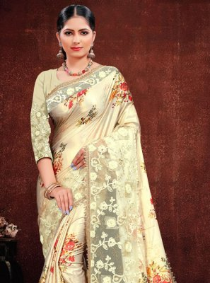 Cream Embroidered Georgette Satin Classic Designer Saree