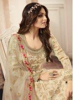 Cream Embroidered Jacquard Salwar Kameez