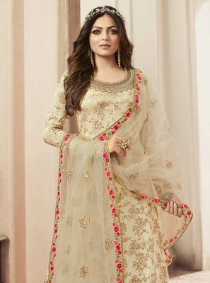 Cream Embroidered Jacquard Salwar Kameez