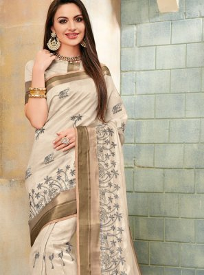 Cream Embroidered Mehndi Classic Saree