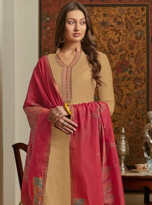 Cream Embroidered Muslin Salwar Kameez