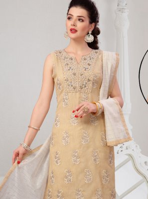 Cream Embroidered Net Readymade Suit