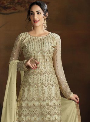 Cream Embroidered Net Trendy Suit