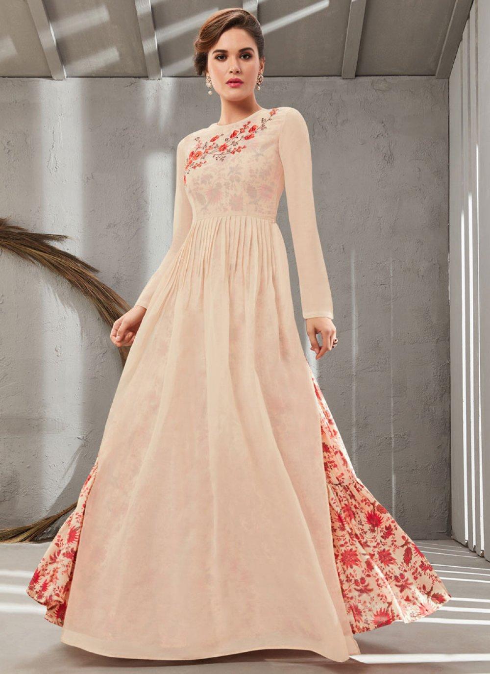 Cream Embroidered Organza Gown