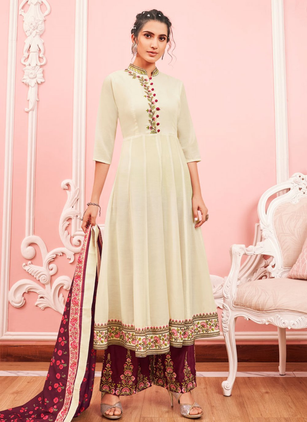 Cream Embroidered Party Salwar Suit