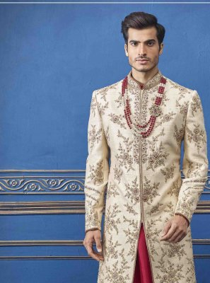 Cream Embroidered Pure Silk Sherwani