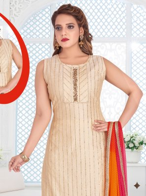 Cream Embroidered Readymade Salwar Kameez