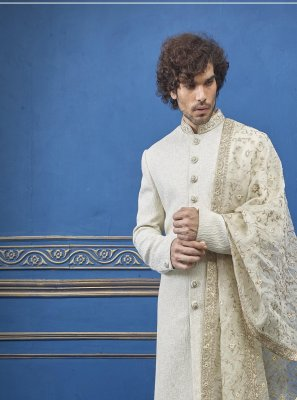Cream Embroidered Reception Sherwani