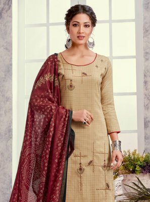 Cream Embroidered Salwar Kameez