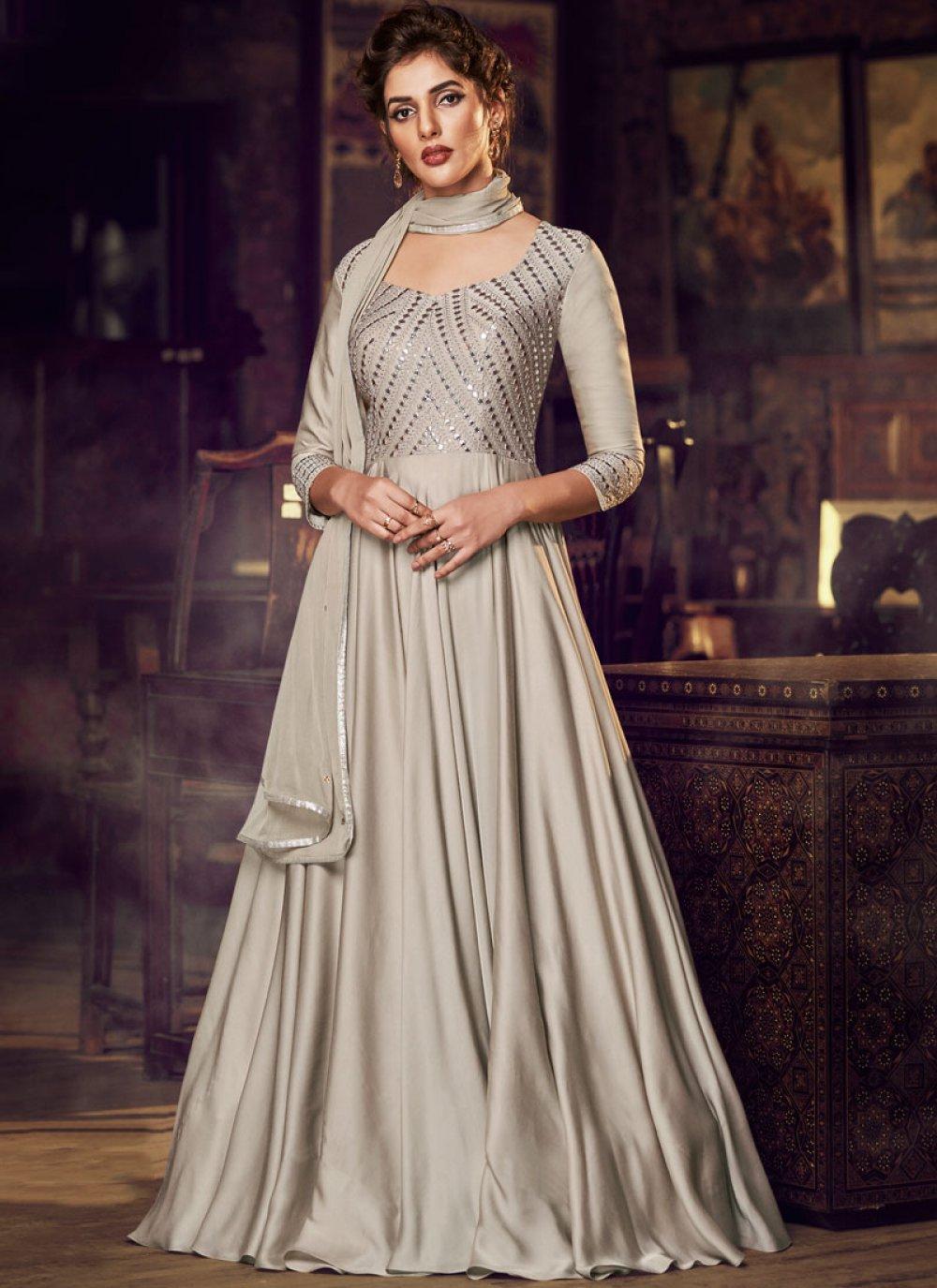 Cream Embroidered Satin Designer Gown