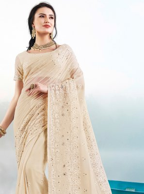 Cream Embroidered Trendy Saree