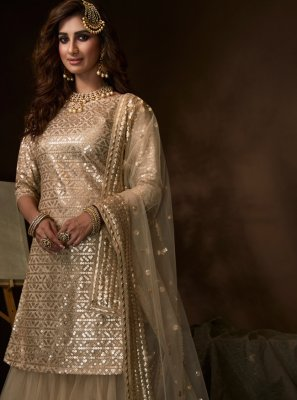 Cream Engagement Designer Salwar Suit