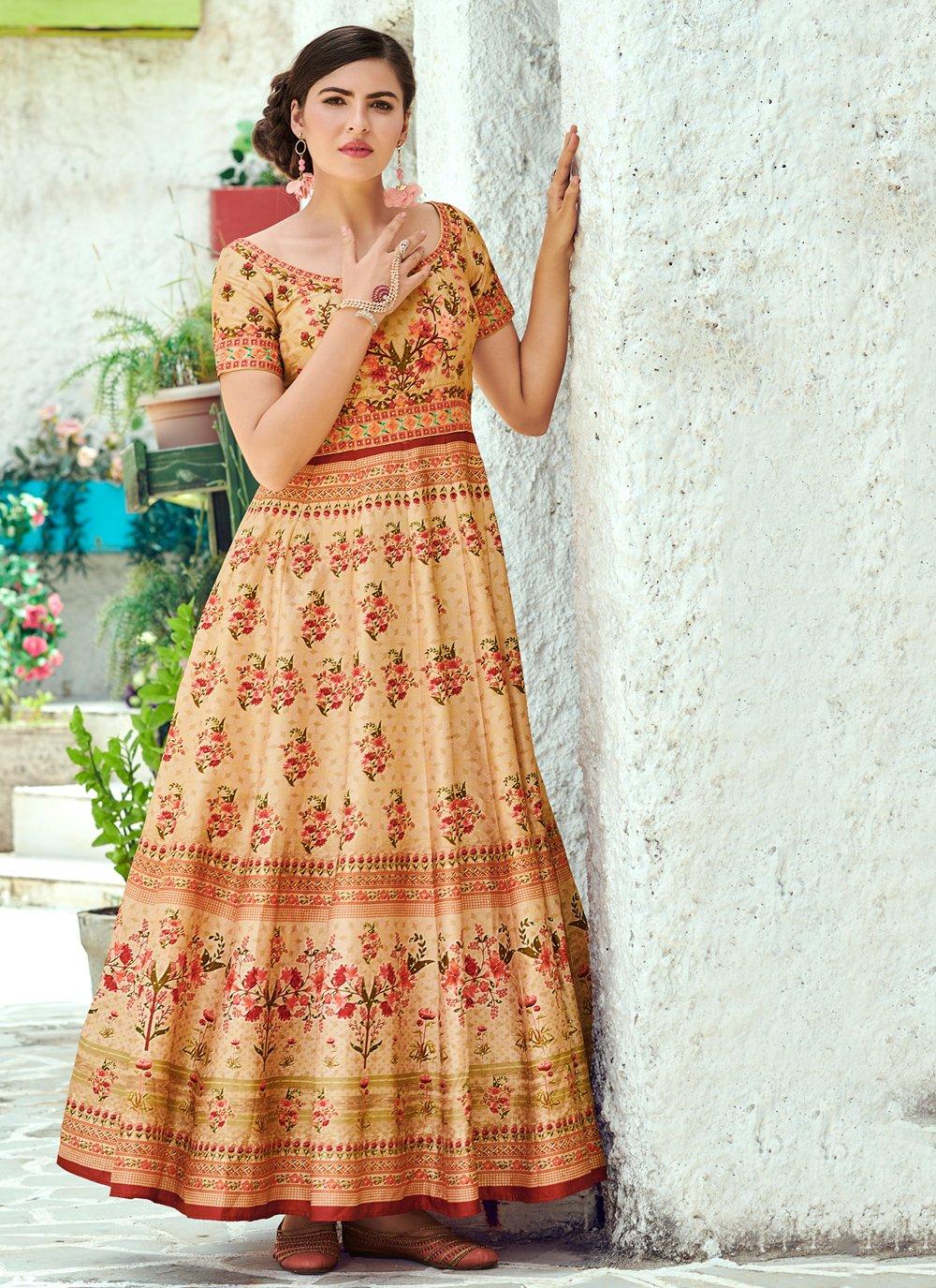 Cream Engagement Floor Length Gown
