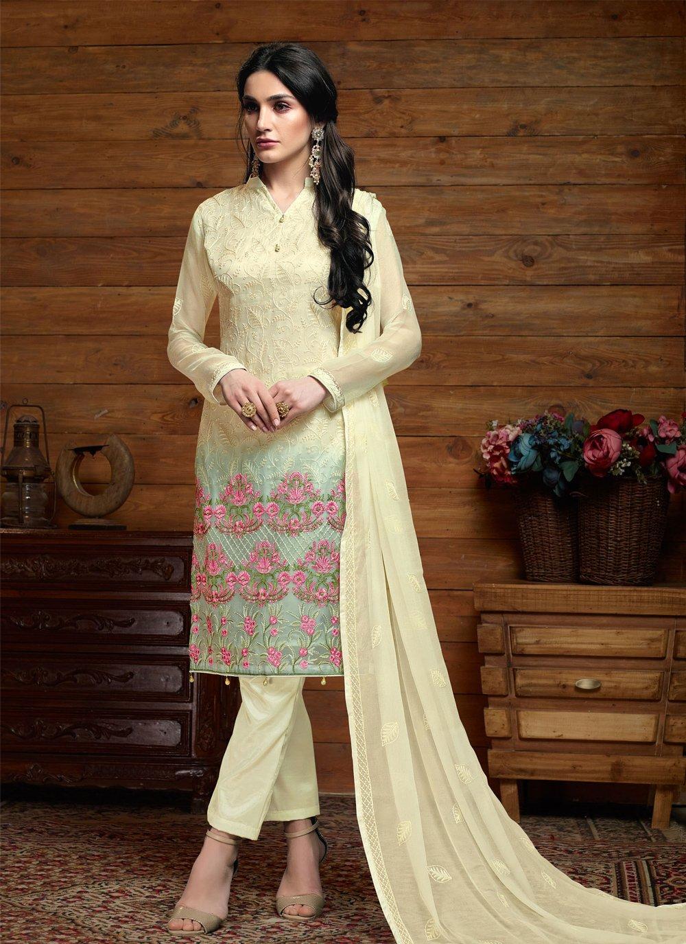 Cream Faux Chiffon Trendy Salwar Kameez