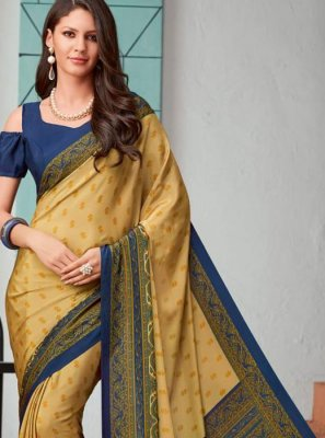 Cream Faux Crepe Printed Saree