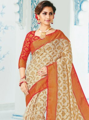 Cream Festival Silk Classic Saree