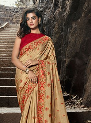 Cream Festival Silk Silk Saree