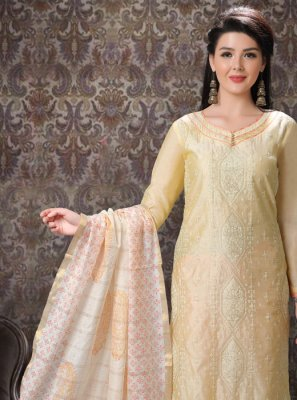 Cream Festival Trendy Salwar Suit