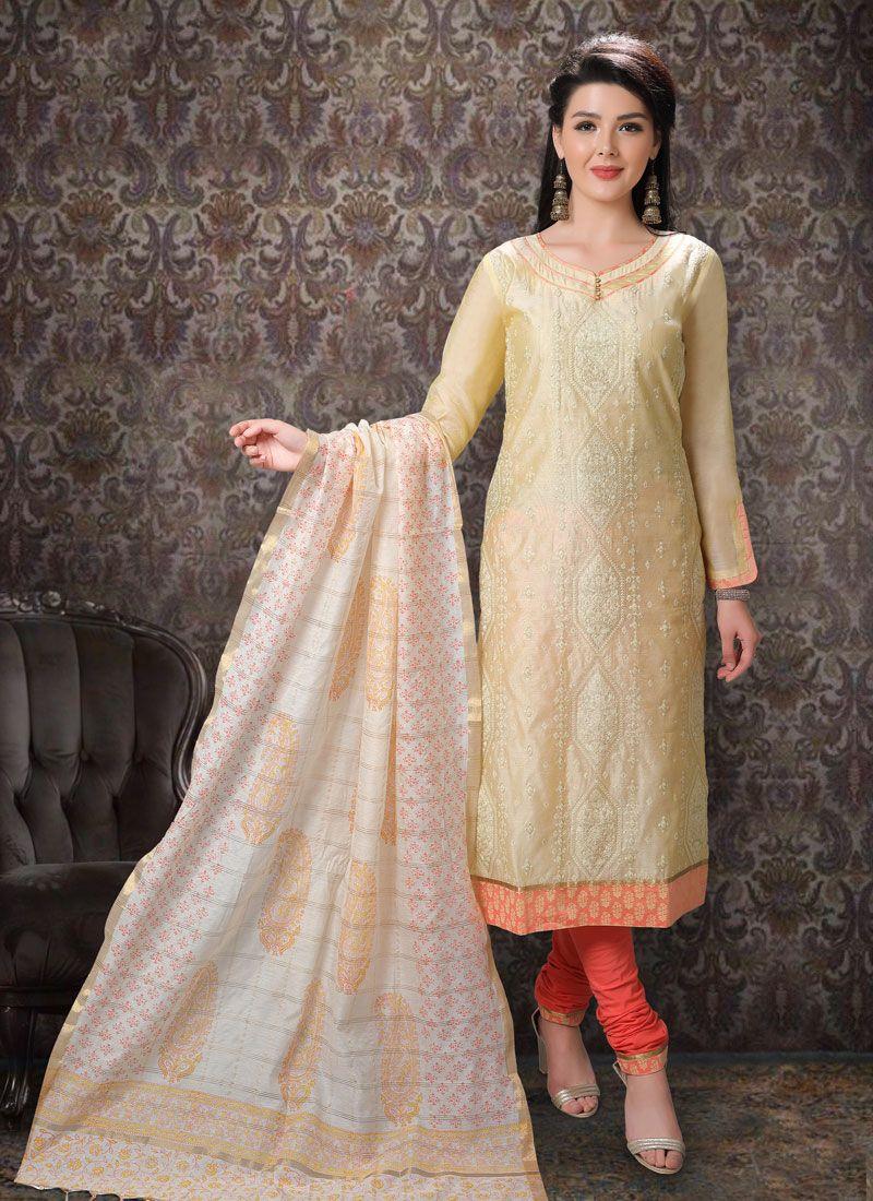 Cream Festival Trendy Salwar Suit