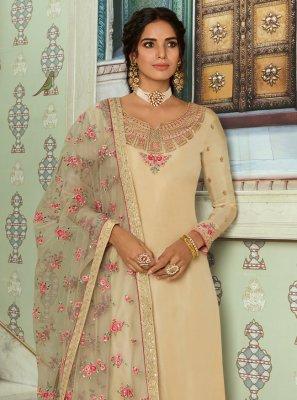 Cream Festival Tussar Silk Designer Straight Salwar Kameez