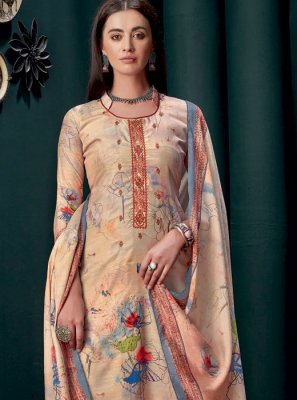 Cream Georgette Party Palazzo Suit