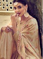 Cream Georgette Party Salwar Suit