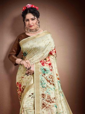 Cream Georgette Reception Classic Saree