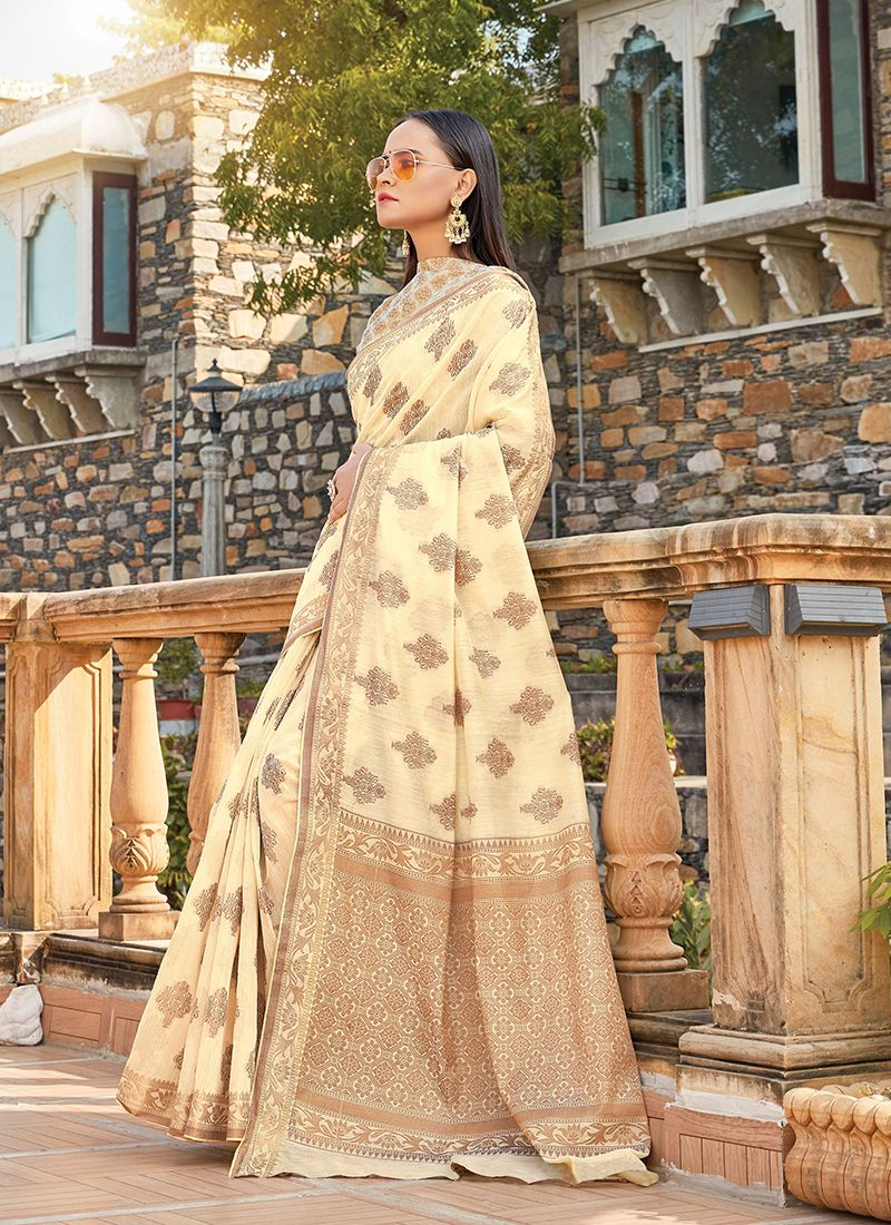 Cream Handloom Cotton Casual Saree
