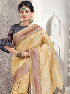 Cream Handloom silk Silk Saree