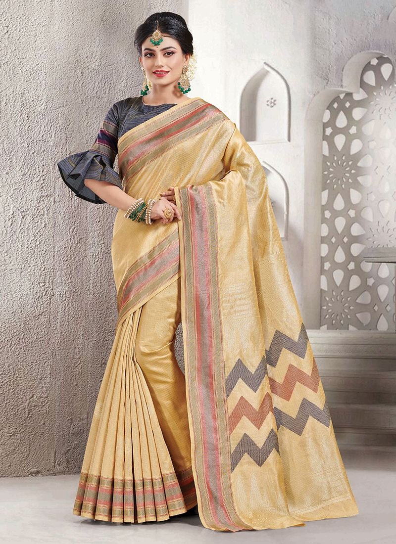 Cream Handloom silk Silk Saree