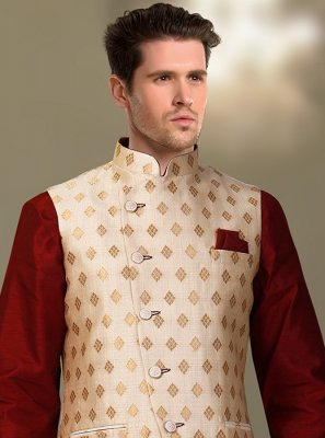 Cream Machine Embroidery  Sangeet Nehru Jackets