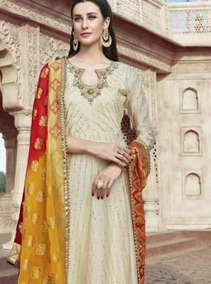 Cream Mehndi Readymade Suit