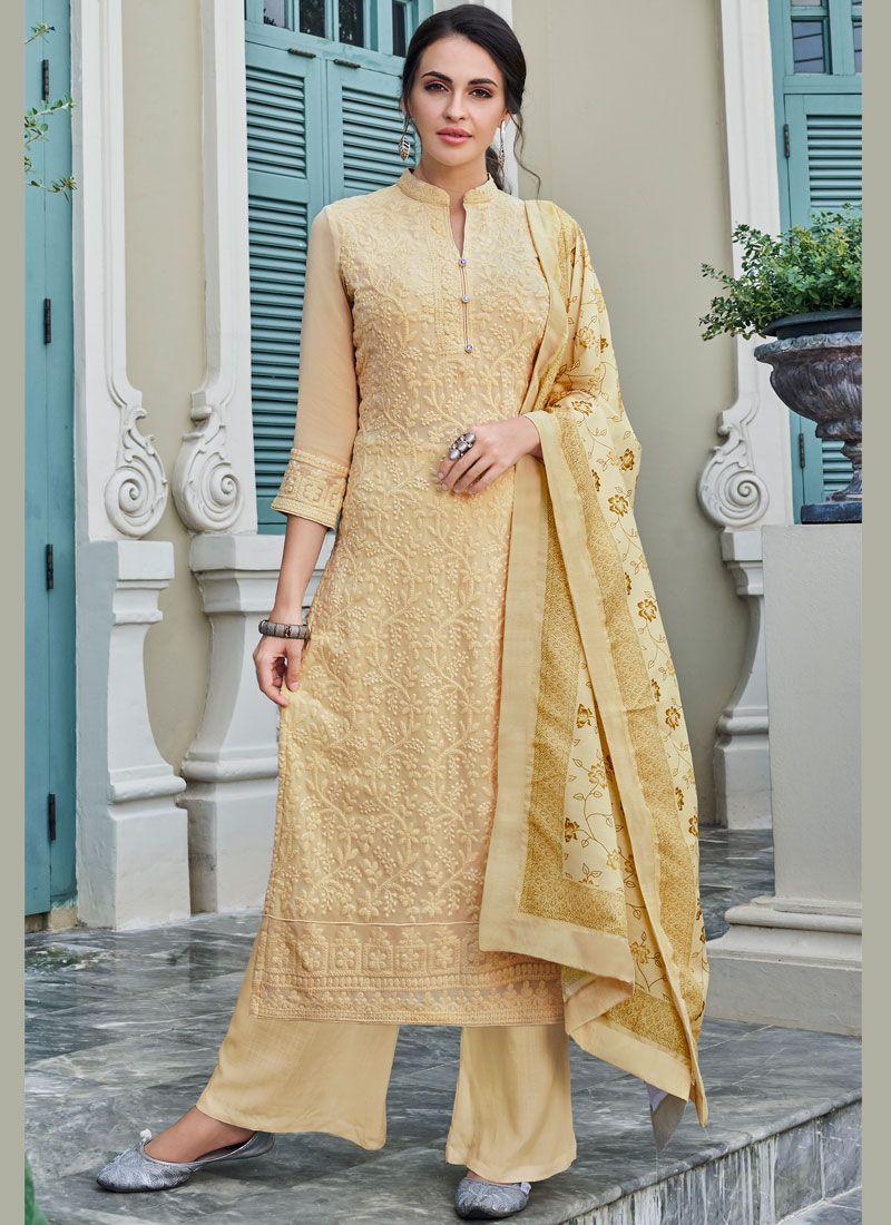 Cream Mehndi Trendy Palazzo Salwar Kameez