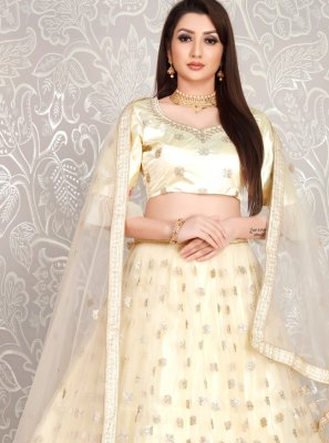 Cream Net Ceremonial Lehenga Choli
