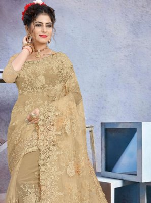 Cream Net Reception Trendy Saree