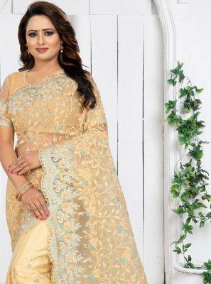 Cream Net Traditional Saree