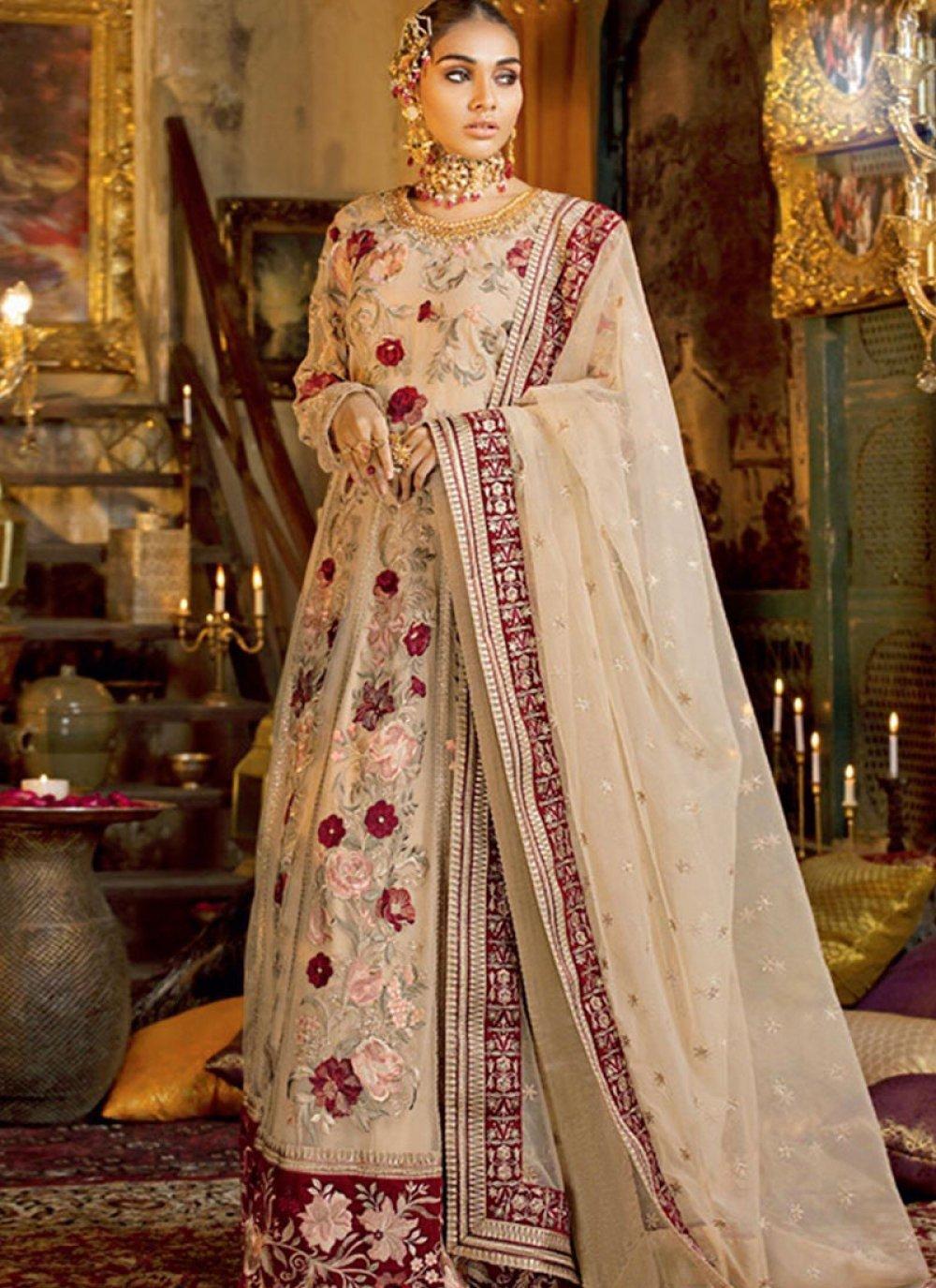 Cream Net Wedding Designer Lehenga Choli