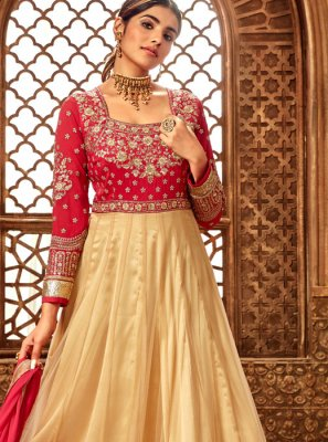 Cream Net Zari Anarkali Suit