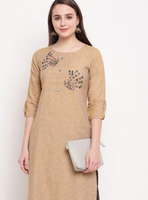 Cream Party Rayon Party Wear Kurti