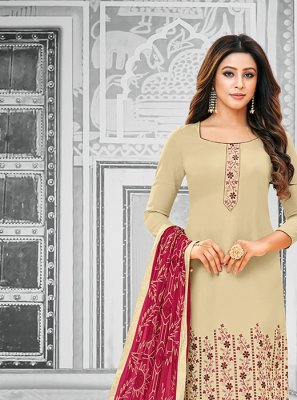 Cream Party Salwar Kameez