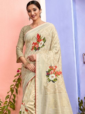 Cream Party Silk Designer Saree