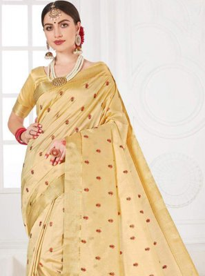 Cream Party Trendy Saree
