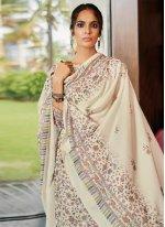 Cream Pashmina Digital Print Designer Palazzo Salwar Suit