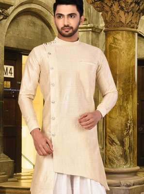 Cream Plain Art Silk Indo Western