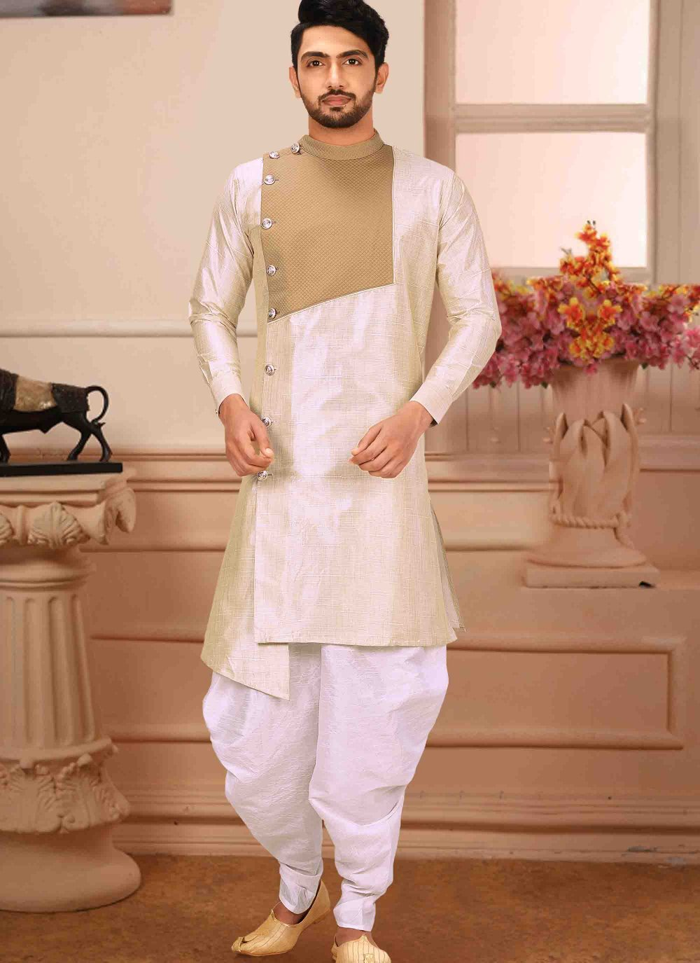 Cream Plain Ceremonial Kurta Pyjama